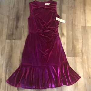 ElizaJ Fuschia Velvet elegant mermaid Dress Sz 6